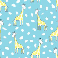 Seamless cartoon giraffe pattern. Vector background for kids.