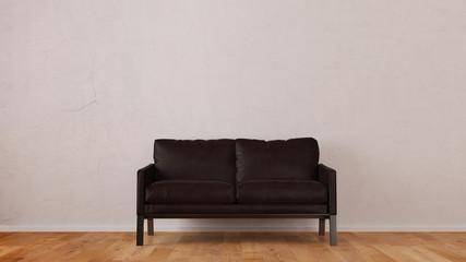 Zweisitzer als Sofa vor Wand