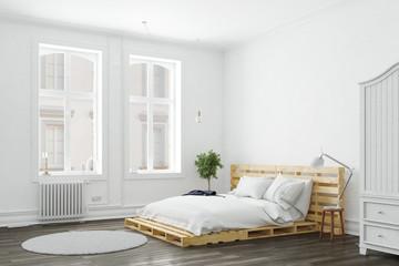 Minimalistisches Schlafzimmer mit Palettenbett