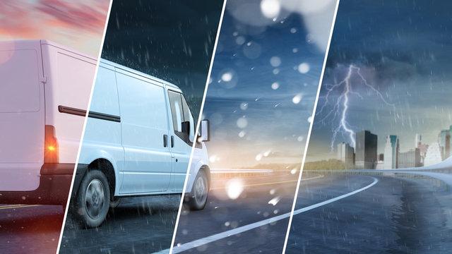 Van von Lieferservice fährt durch Wetter und Jahreszeiten