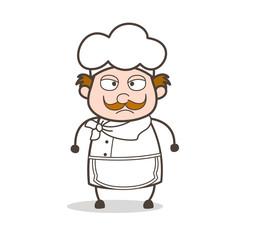 Cartoon Anger Chef Face Vector Illustration