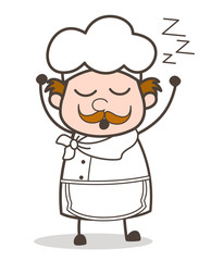 Cartoon Chef Yawning Expression Vector