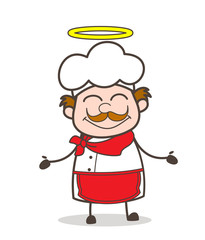 Cartoon Cute Chef Happy Face with Halo Vector