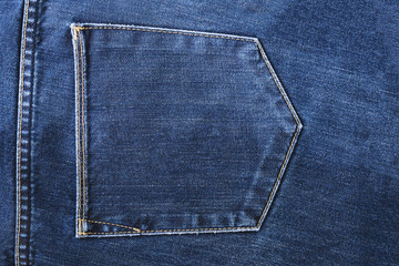 Pocket of traditional blue jeans