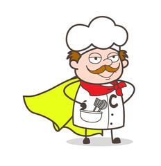 Cartoon Aged Super Hero Chef Character