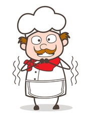Cartoon Old Chef Shivering Vector Illustration