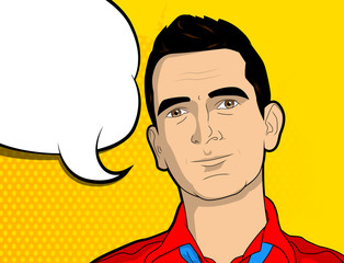 Pop Art man with blank speech bubble - comic book style, cartoon vector illustration.