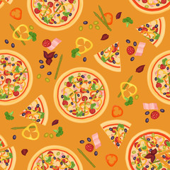 Vector Seamless texture of Pizza Slices with various ingredients.