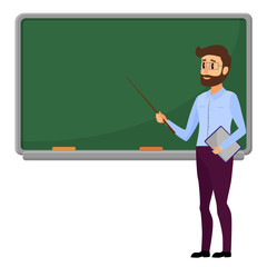 Young Teacher standing in front of blank school blackboard vector illustration. Male school teacher near green blackboard.