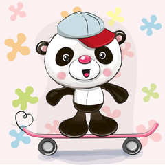 Cute Panda with skateboard