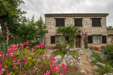 Scenic stone house architecture in Provence region of France