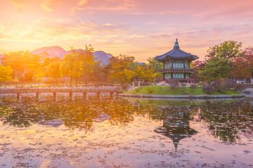 Aluminium Prints Seoul Autumn of Gyeongbokgung Palace in Seoul ,Korea