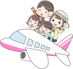 家族旅行 長期休み 飛行機 バカンス 幸せ