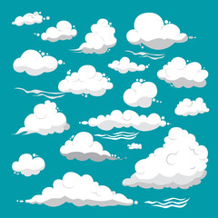 White clouds of different shapes on a blue background