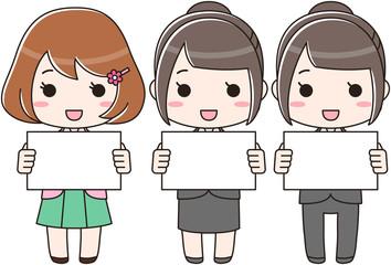 白い画用紙・パネルを持つ新入社員の女性イラスト