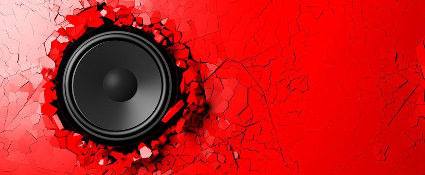 Loudspeaker on a red wall background. 3d illustration