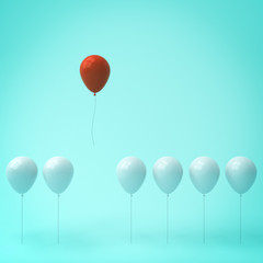 Stand out from the crowd and different concept , One red balloon different from other white balloons on light green pastel color wall background with window reflections and shadows . 3D rendering.