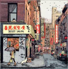 Illustration of woman with umbrella at New York Chinatown street