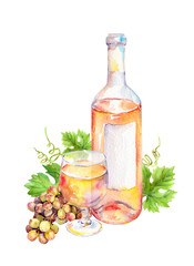 Wine glass, bottle of white wine with vine leaves and grape berries. Watercolor