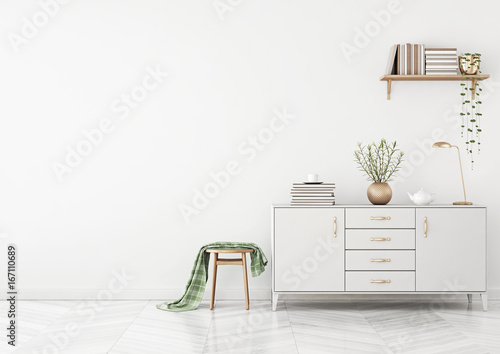 Clean Living Room Interior With Chest Of Drawers Stool Plaid And Interesting Clean Living Room