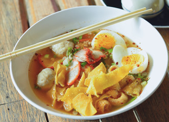 spicy pork noodle ,Thai cuisine