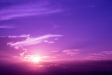 Purple sky of sunrise.