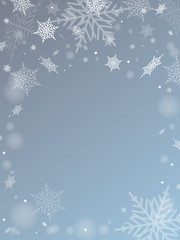 Snow on blue color background