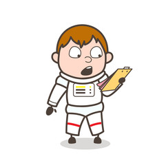 Cartoon Astronaut Surprised After Reading Notes
