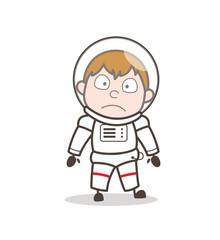 Cartoon Astronaut Shocking Face Expression Vector Illustration