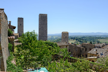 View at the village of San Gimignano on