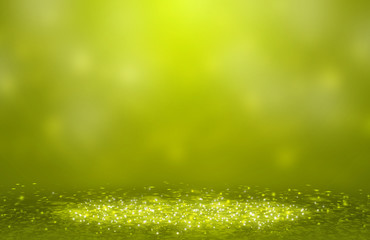 Dark Green sparkle rays lights with bokeh elegant show on stage  abstract background. Dust sparks background.