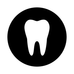 Tooth circle icon. Black, round, minimalist icon isolated on white background. Tooth simple silhouette. Web site page and mobile app design vector element.