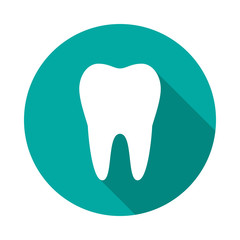 Tooth circle icon with long shadow. Flat design style. Tooth simple silhouette. Modern, minimalist, round icon in stylish colors. Web site page and mobile app design vector element.