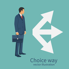 Choice way concept. Decision business metaphor. Vector illustration flat style design. Isolated on background. Businessman before choosing. Crossroads arrows. Decide direction.