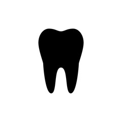Tooth icon. Black, minimalist icon isolated on white background. Tooth simple silhouette. Web site page and mobile app design vector element.