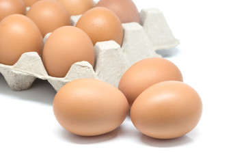 Eggs stack isolated on white background