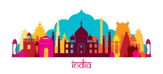 India Architecture Landmarks Skyline, Shape Wall mural