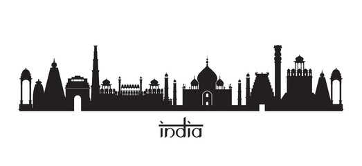 India Landmarks Skyline in Black and White Silhouette
