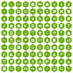 100 pensil icons hexagon green