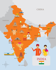 India Map and Icons with People in Traditional Clothing
