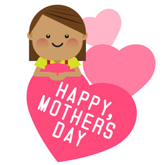 Happy smiling girl with pink heart. Happy mothers day card. Vector illustration