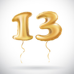 vector Golden number 13 thirteen made of inflatable balloon isolated on white background