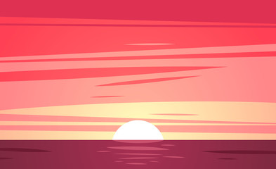 Sunset beach. Vector illustration.