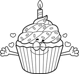 Cartoon Birthday Cupcake Hug