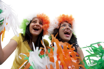 Girls with wigs cheering