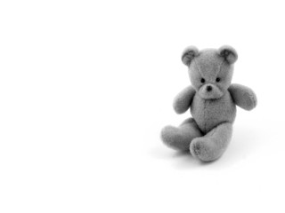 Teddy bear image. Teddy bear black and white photo. Old teddy bear toy