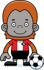 Cartoon Smiling Soccer Player Orangutan