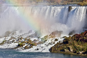 Beautiful photo of amazing Niagara waterfall and a rainbow