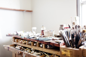 Painting tools at art studio