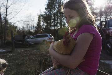 Close-up of sad girl holding chicken while sitting in lawn